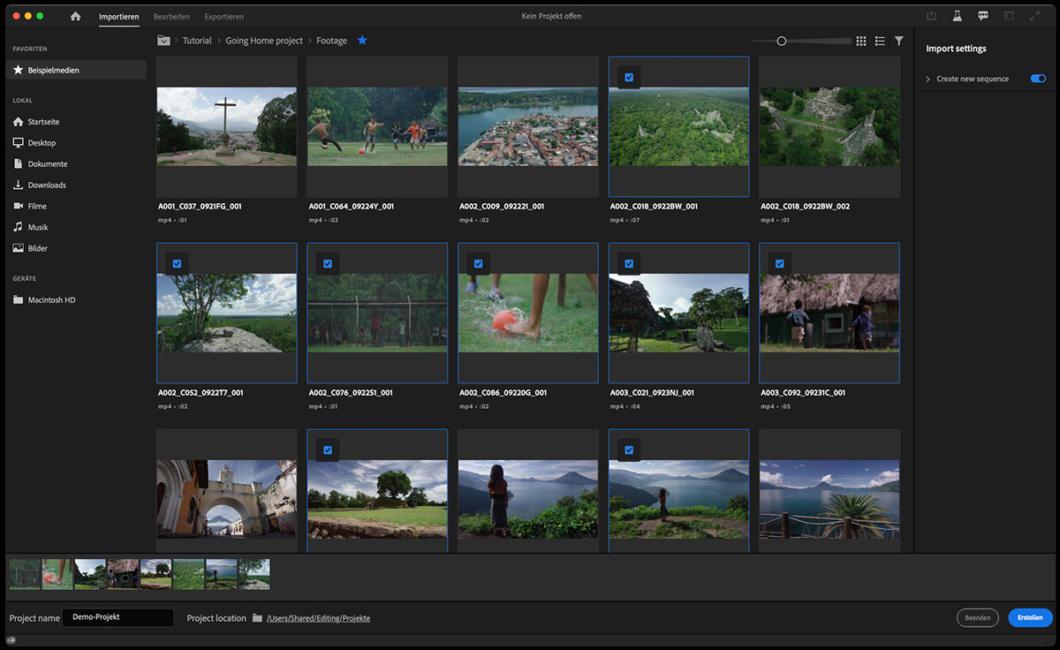 Screenshot Adobe Premiere Pro