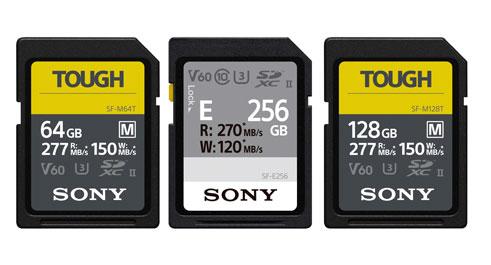 Drei Speicherkarten von Sony