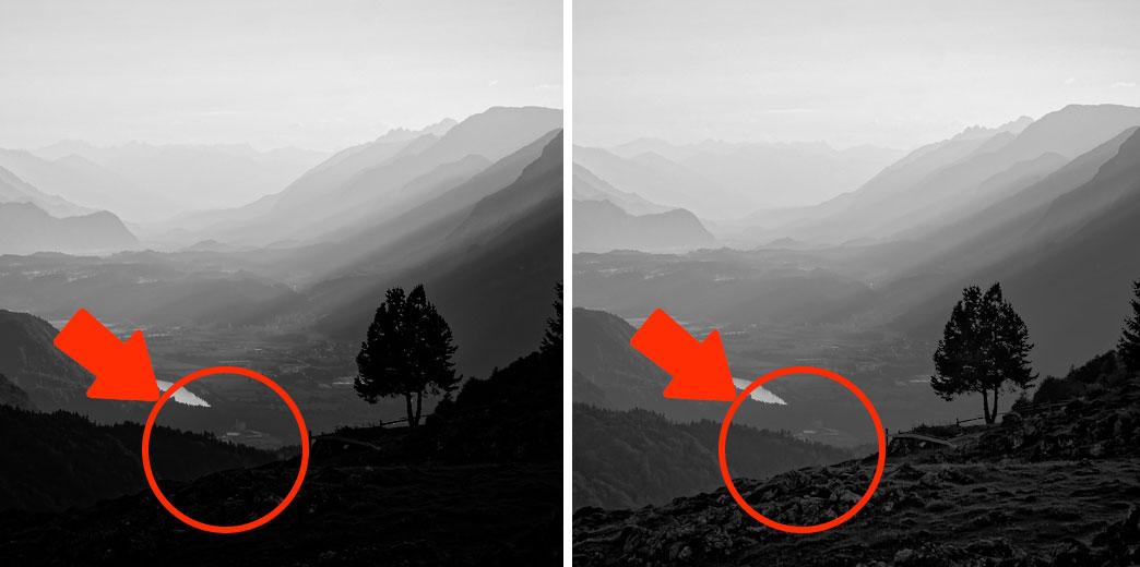 Zwei Landschaftsaufnahmen mit unterschiedlich sichtbaren Schatten