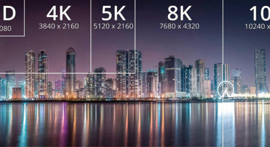 Größenvergleich von Full HD zu 10K